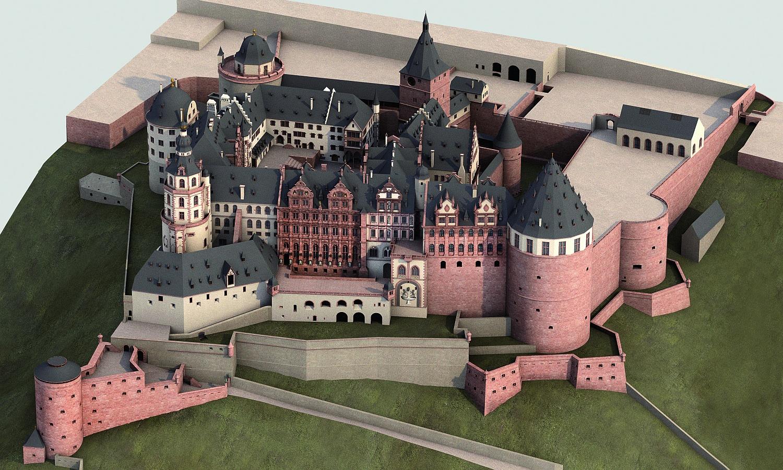 Rekonstruiertes Heidelberger Schloss mit seinen heute zerstörten Wehranlagen
