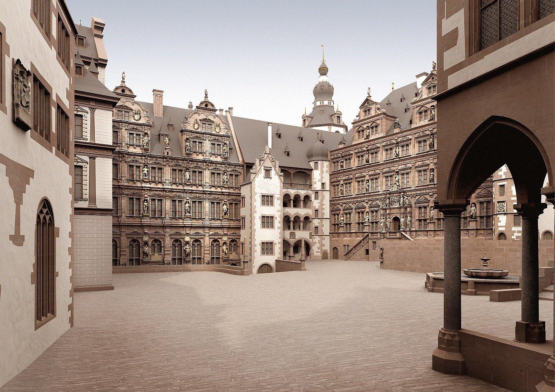 Blick in den rekonstruierten Innenhof des Schlossesum 1683.