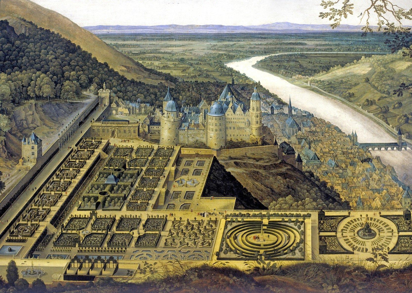 Gemälde desHortus Palatinus vom Heidelberger Schloss aus dem Jahr 1620:Aus solchen Gemälden, historischen Zeichnungen und Bauplänen wurde die neue 3D-Simulation des unzerstörten Schlosses rekonstruiert.