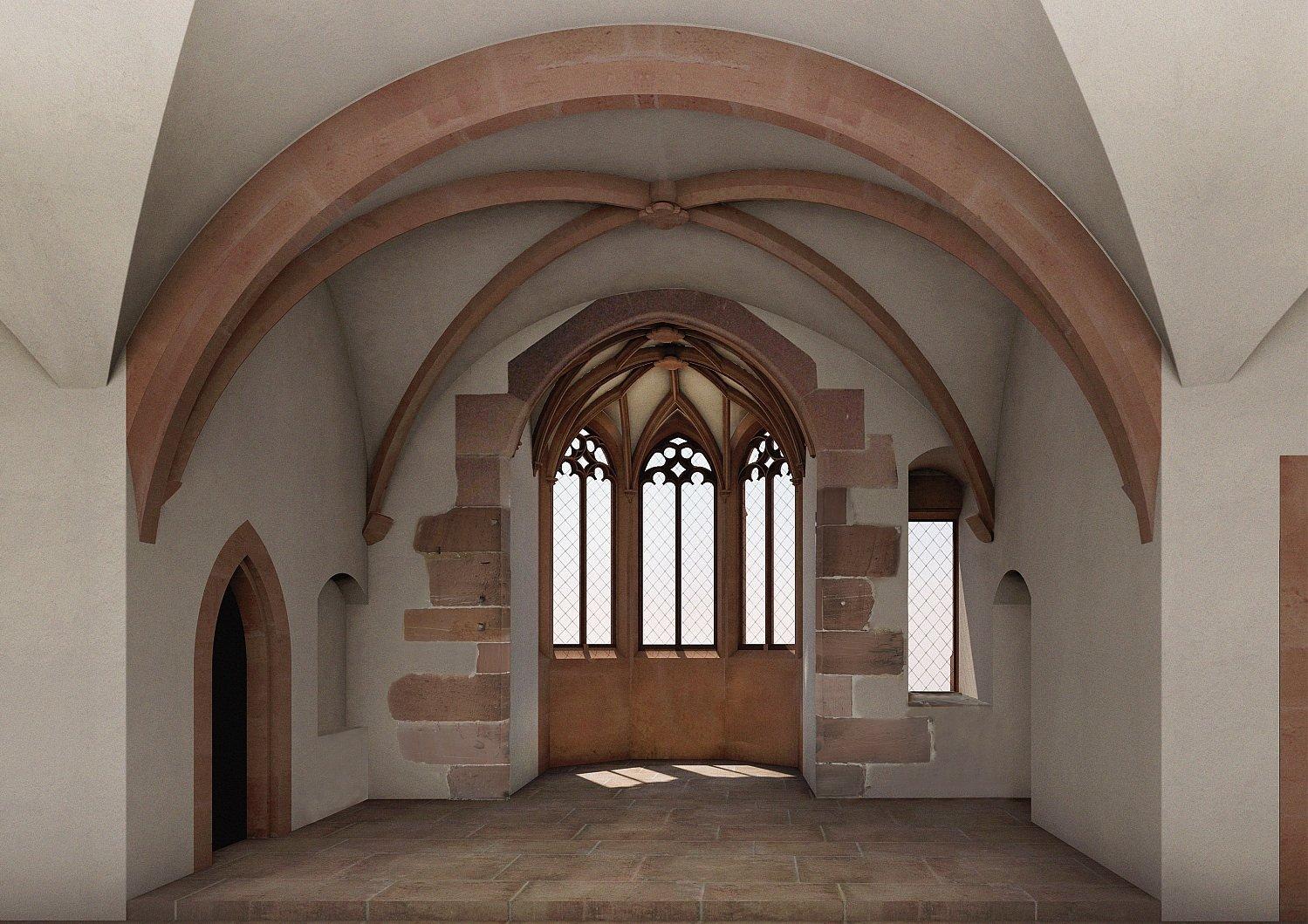 Rekonstruierte Innenansicht im Heidelberger Schloss.
