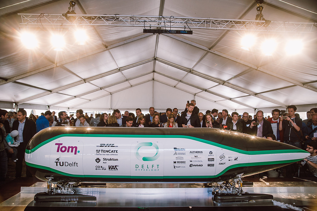 Tom, die Hyperloop-Kapsel der TU Delft.