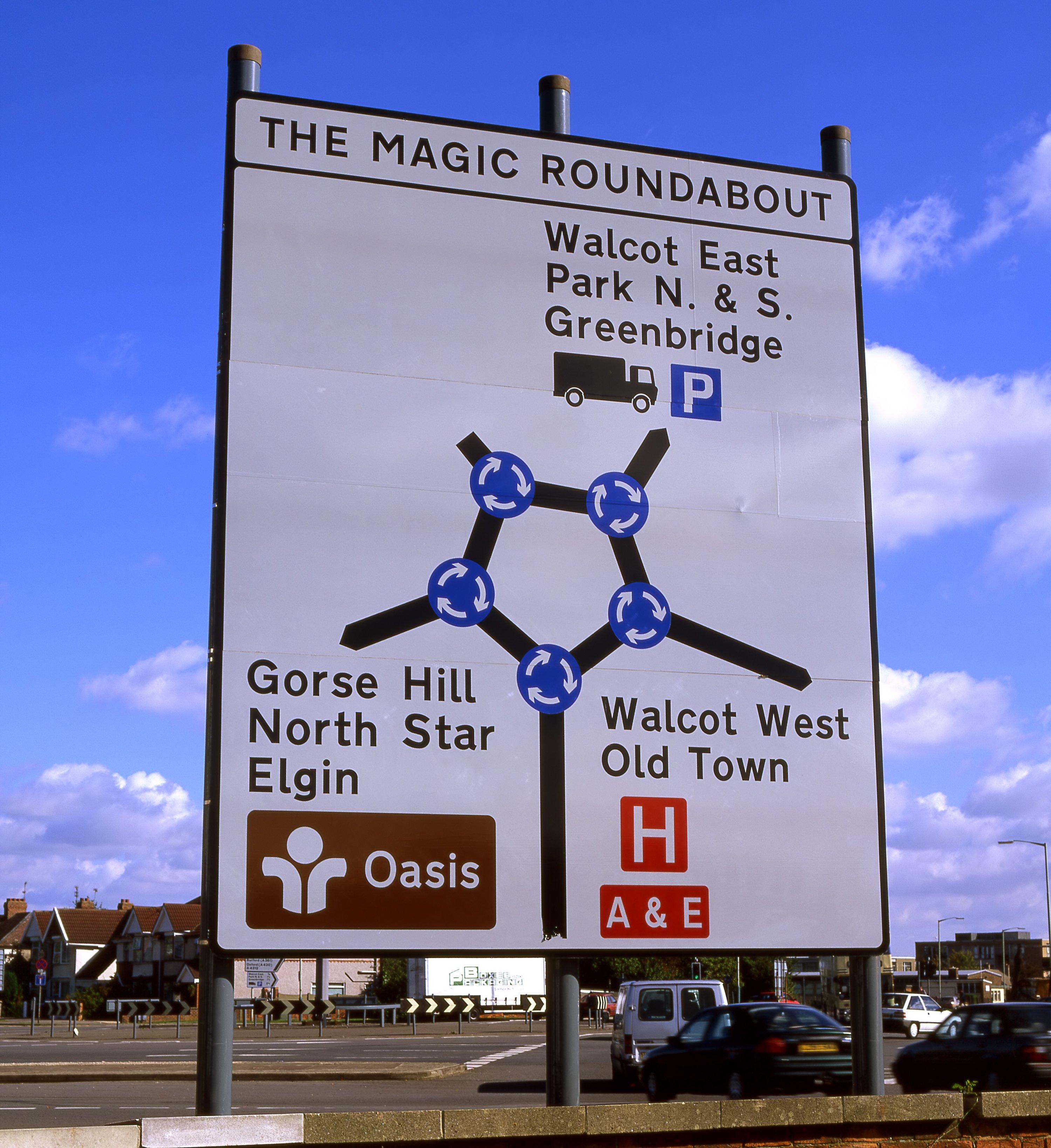 Der Magic Roundabout im englischen Swindon besteht aus einem großen Kreisverkehr und fünf kleineren Kreisverkehren um ihn herum.