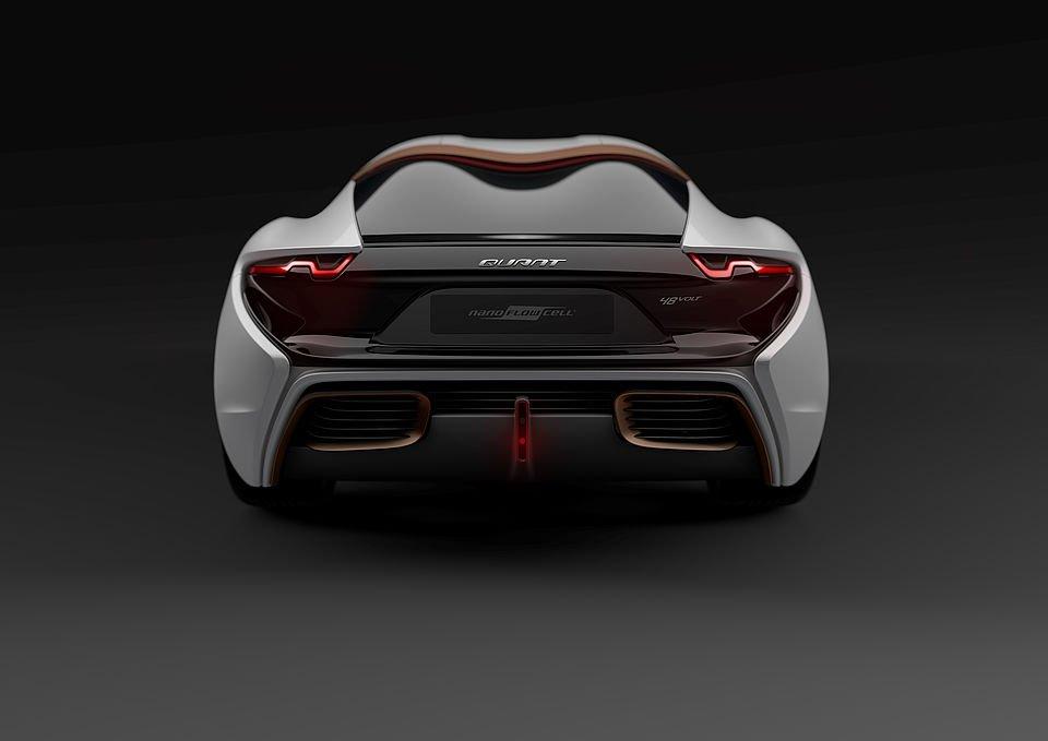 Rückansicht des Quant 48Volt: Mit diesem Elektroauto will der Liechtensteiner Autobauer Nanoflowcell den Durchbruch in der Elektromobilität erzielt haben.