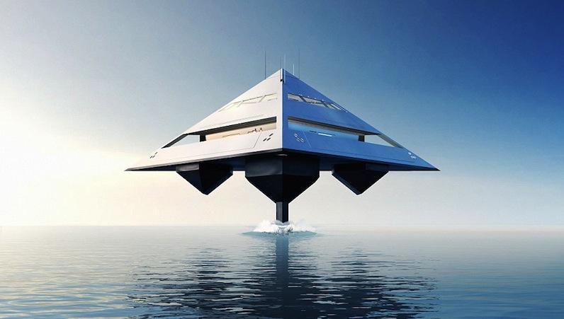 Tetrahedron oder kurz Tetra hatDesigner Jonathan Schwinge diese Superyacht in Pyramidenform genannt.