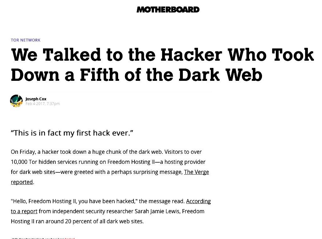 Der anonyme Hacker erläuterte im E-Mail-Gespräch mit Motherboard seinen Hack im Darknet.
