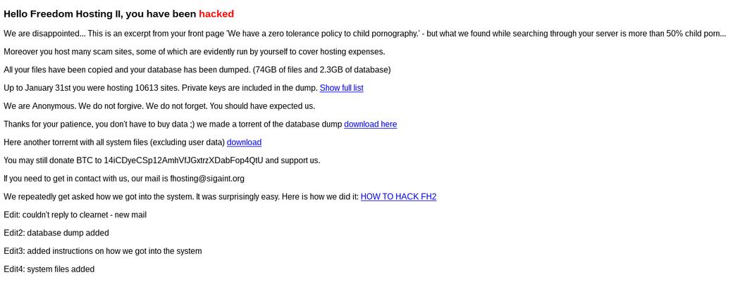 Diesen Gruß hinterließ der Anonymous-Hacker auf rund 10.000 Seiten im Dark Net, die jetzt gesperrt sind.