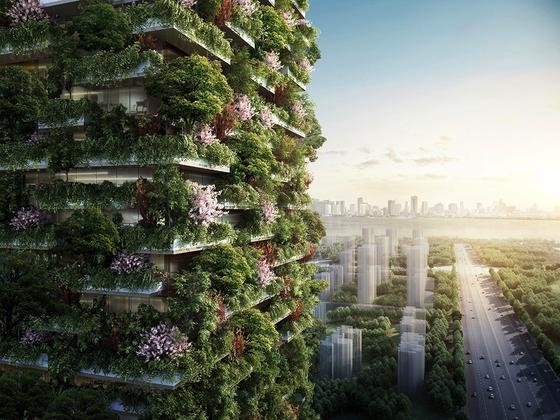 1.100 Bäume werden auf den Fassaden der beiden Nanjing Türme wachsen, die der italienische ArchitektStefano Boeri in der chinesischen Millionenstadt baut. Die Türme sollen 2018 fertig sein.
