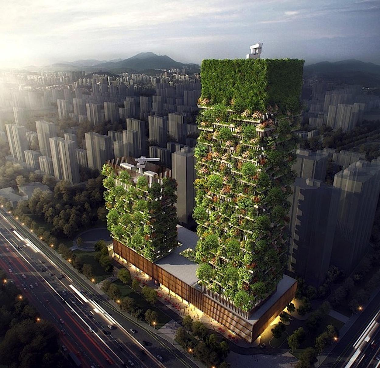 Im rechten, 207 m hohen Turm werden vor allem Büros einziehen, im kleineren Turm ein Hotel.