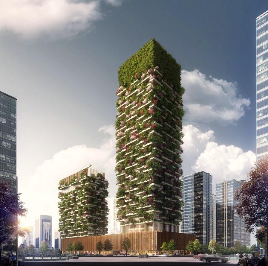 Die von 1100 Bäumen bewachsenen Nanjing Tower:Die beiden Hochhaustürme sind durch ein Geschäftszentrum verbunden.