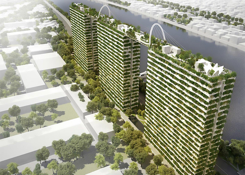 Der geplante Gebäudekomplex in Vietnam besteht aus drei Hochhäusern mit jeweils 22 Etagen, die Platz für insgesamt 720 Wohnungen bieten.