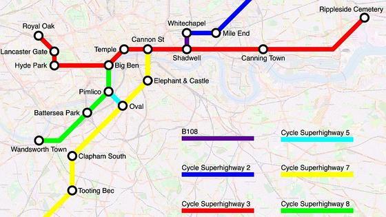 So könnte ein Plan der wichtigsten Fahrradrouten in London aussehen, wenn man sich U-Bahnpläne als Vorbild nimmt. Der amerikanische Geograph und RadfahrerMichael Graham glaubt, dass zu viele Informationen Radfahrer verunsichern.