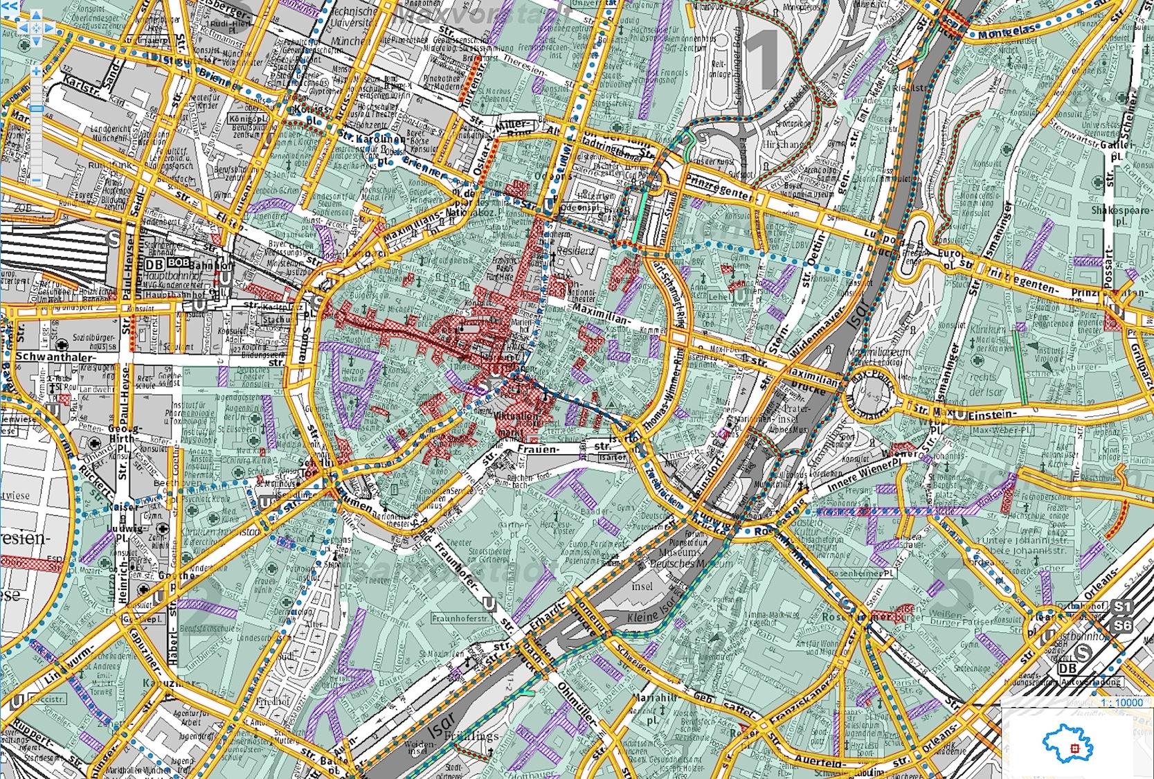 Der Münchner Fahrradstadtplan erfordert schon deutlich mehr Aufmerksamkeit, um einen schnellen Weg durch die Stadt zu finden.