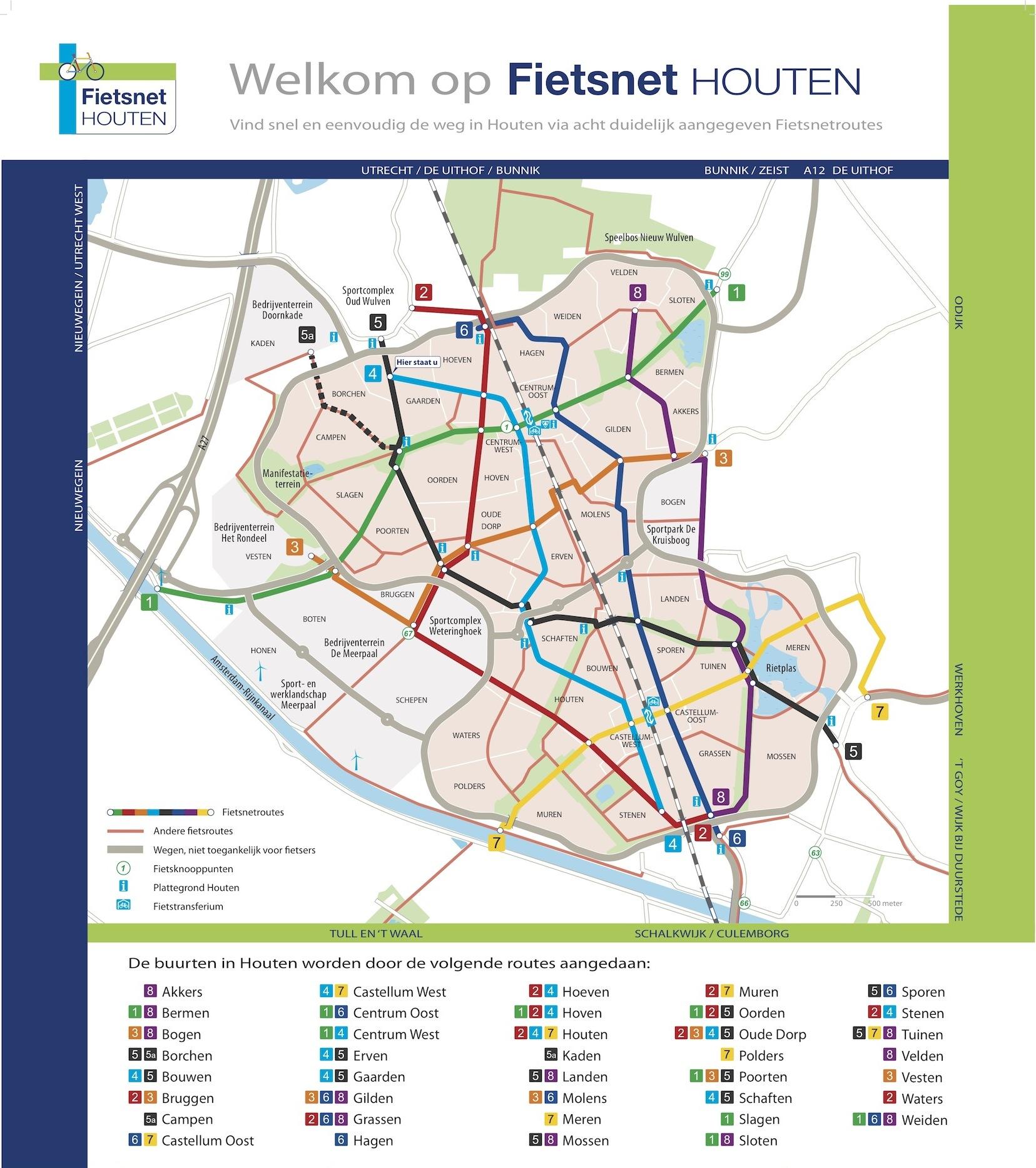 Michael Graham ist nicht der Einzige, der einfache Fahrradpläne für sinnvoll hält. Die niederländische Stadt Houten, ebenfalls führend in der Fahrradförderung, hat einen Fahrradplan mit vielen markant gekennzeichneten Hauptrouten entwickelt.