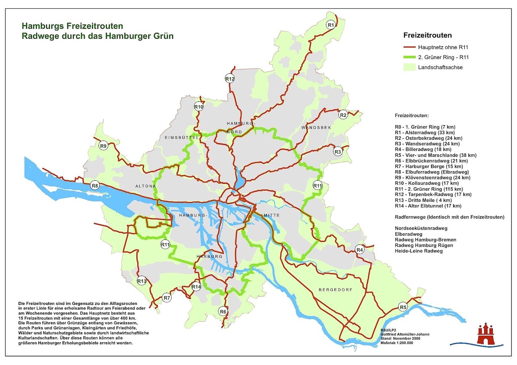Einfach, aber trotzdem keine gute Orientierung: Fahrradrouten in Hamburg.