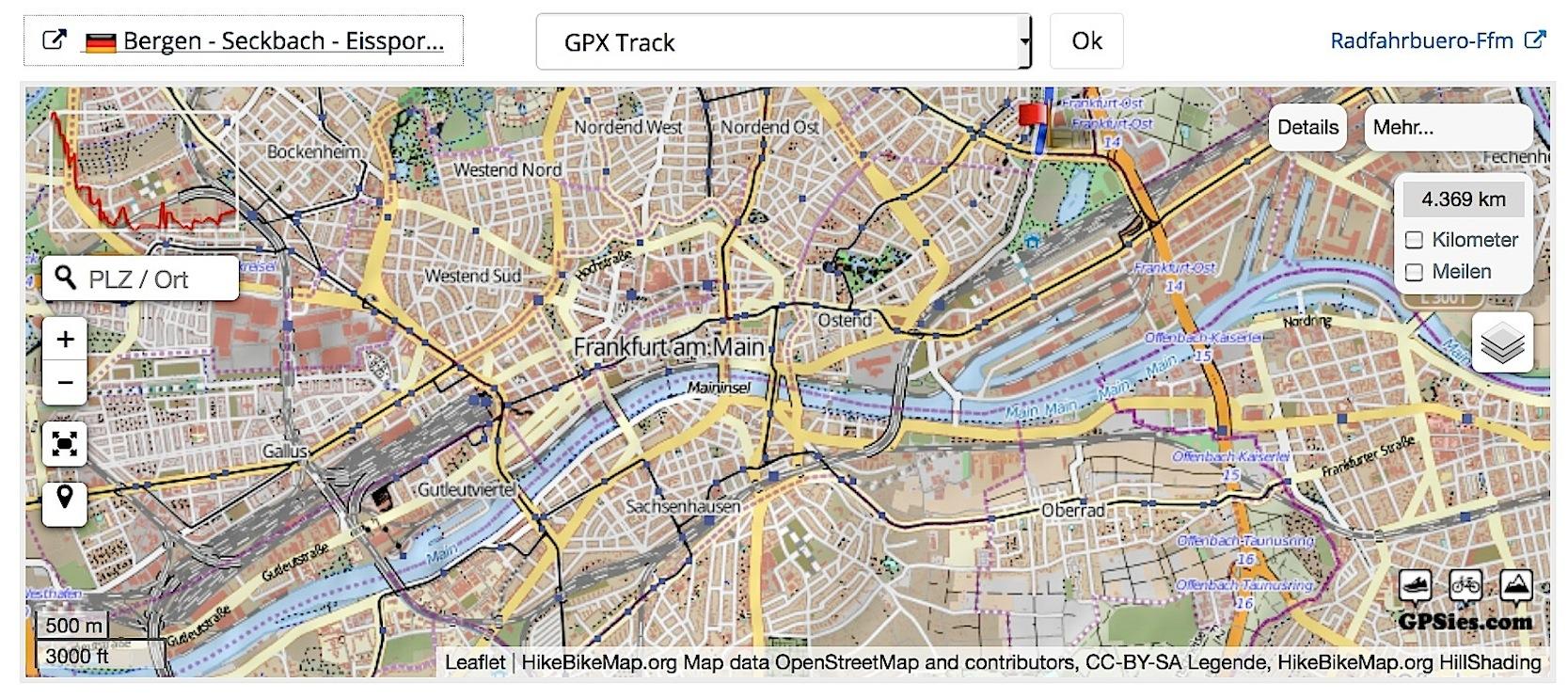 In Frankfurt ist eine Lupe sehr nützlich, wenn man nach Fahrradrouten sucht.