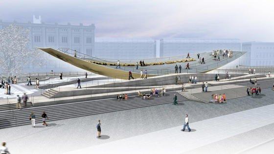 Das 50 Meter lange Freiheits- und Einheitsdenkmal in Berlin kann von 1.400 Menschen begangen werden, die mit ihrem Gewicht die Schale sanft in Bewegung setzen.