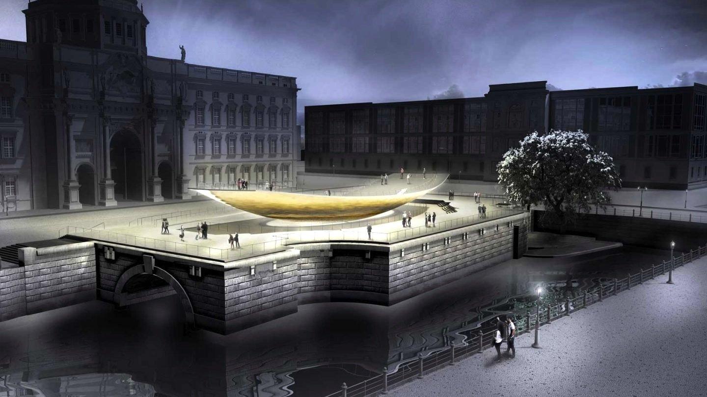 Das Einheitsdenkmal entsteht direkt vor dem neu erbauten Berliner Stadtschloss und ruhtauf dem noch erhaltenen Sockel des Reiterstandbilds von Kaiser Wilhelm I.