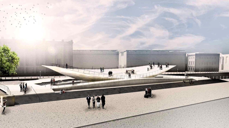 Das Einheitsdenkmal ist eine Stahlkonstruktion und wiegt 150 Tonnen. Die Spitzen können sich um maximal 3,20 Meter heben und senken.
