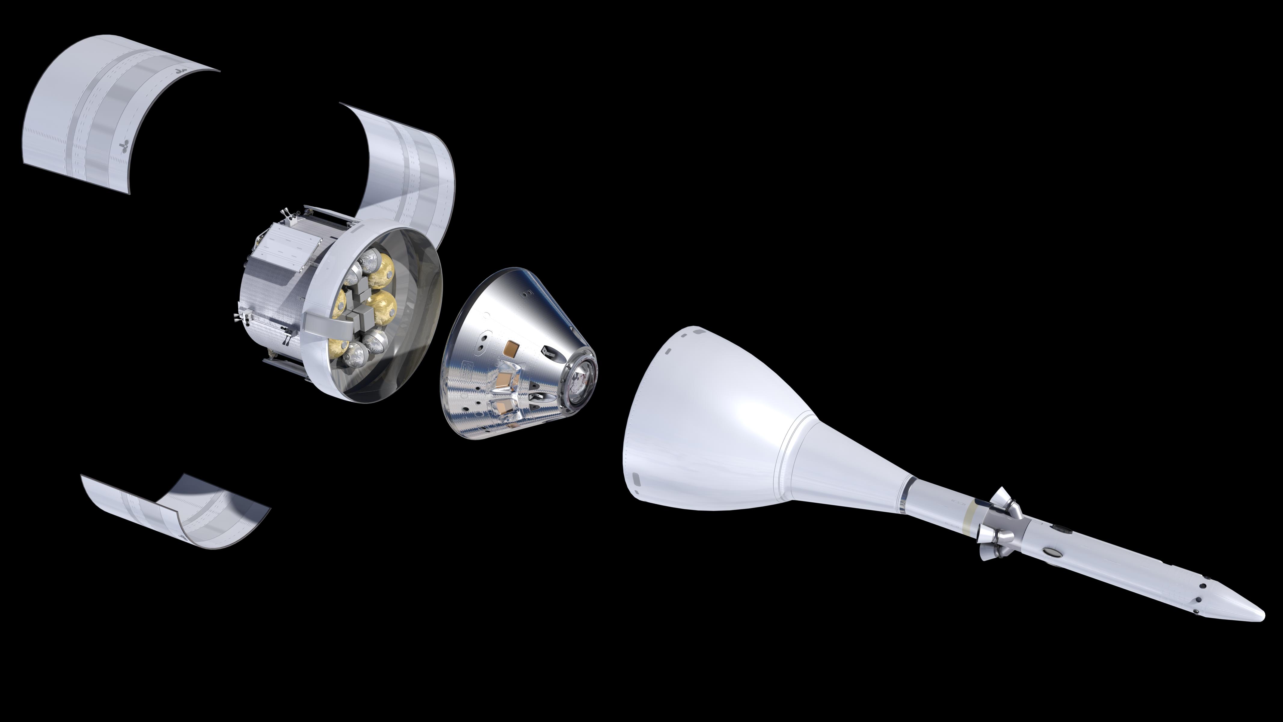 Aufbau der SLS-Rakete: Gleich unter der Raketenspitze liegt die Orion-Kapsel, gefolgt vom Europäischen Servicemodul, das Airbus für die ESA baut.