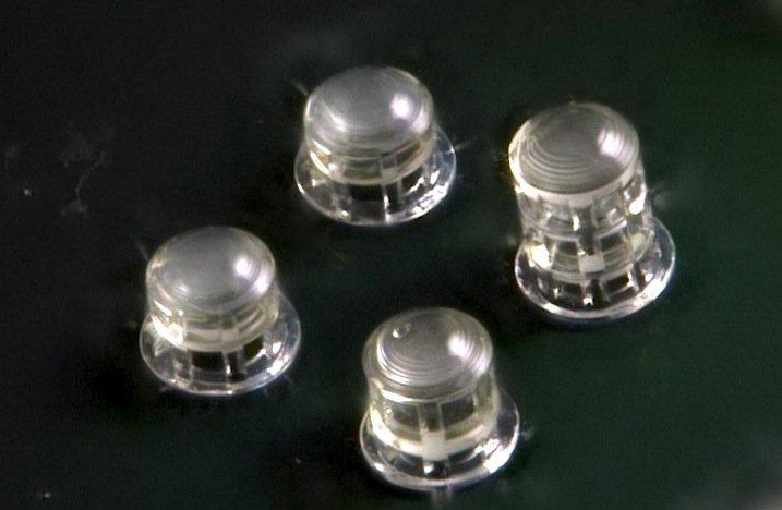 Detailfoto der vier verschiedenen Linsen auf dem CMOS-Sensorchip.