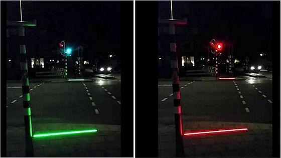 Smartphone-User werden im holländischen Bodegraven jetzt durch LED-Lichtleisten gewarnt, bei Rot über die Kreuzung zu gehen.