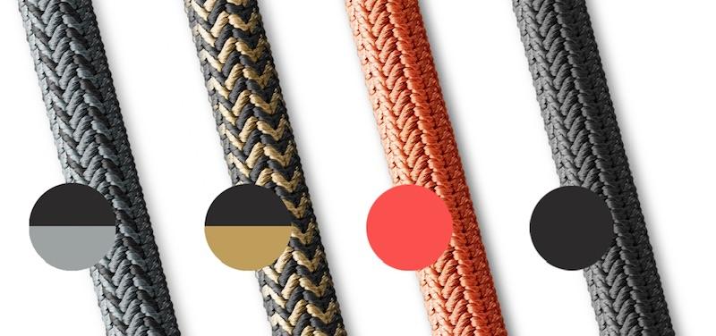 Das tex–lock-Seil gibt es in verschiedenen Farben und Designs.