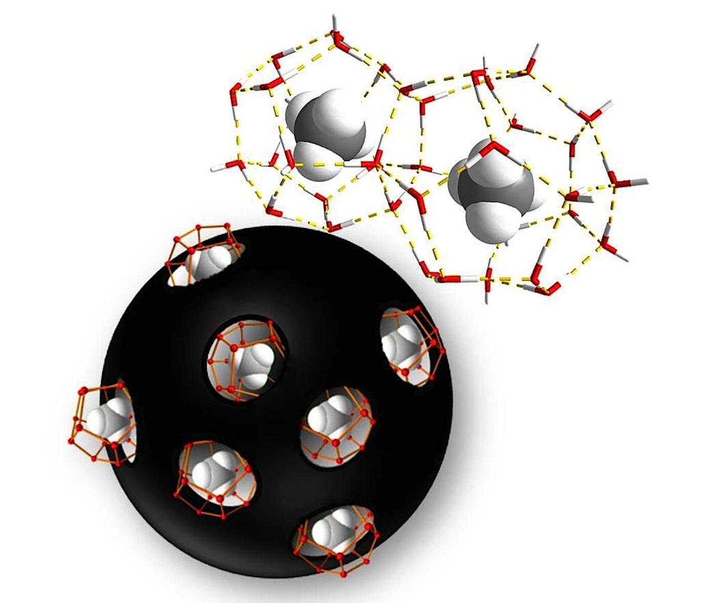 In Kohlenstoffen mit Nanometer kleinen Poren können große Mengen Methanhydrat gespeichert werden.