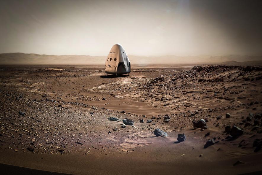 Dragon-Kapsel auf dem Mars: 2018 soll die erste Kapsel zum roten Planeten fliegen, anschließend alle 26 Monate eine weitere. Ziel: die Besiedlung des Mars.