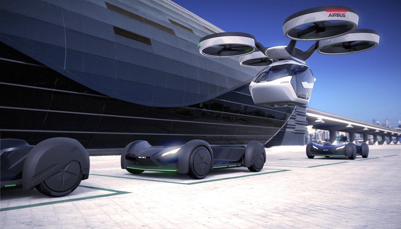 Die Fahrgestelle stehen an Sammelpunkten und warten auf Drohnen, die Kabinen mit Fahrgästen absetzen.