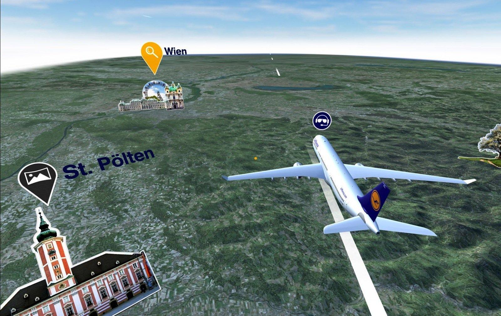 Die Lufthansa hat eine VR-App entwickeln lassen, mit der Fluggäste angepasst an ihre Route in eine 3D-Landschaft eintauchen können. Versprochen wird mehr als ein Blick aus dem Fenster: eine Rundumsicht und Informationen beispielsweise zu Sehenswürdigkeiten, über die man gerade hinwegfliegt.