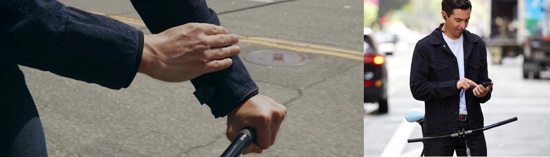 Am Unterarm ist eine Manschette mit der Elektronik befestigt, die von Google entwickelt wurde. Sie stellt per Bluetooth die Verbindung zum Smartphone her.