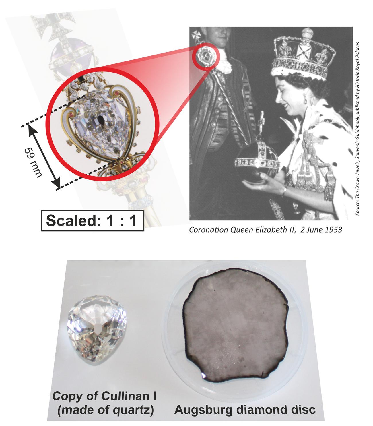Der Cullinan I aus dem Zepter der Kronjuwelen der britischen Königin im direkten Vergleich mit dem Augsburger Einkristall.