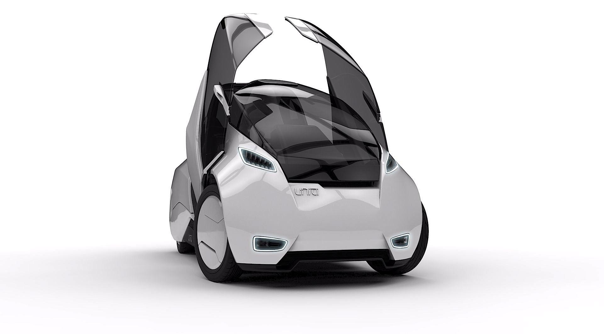 Uniti mit geöffneten Flügeltüren: Das kleine Elektroauto wiegt nur 400 kg und ist eine Entwicklung der Universität Lund in Schweden. 2019 soll es auf den Markt kommen.