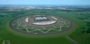 Kreisrunde Start- und Landebahnen mit Flughafen in der Mitte