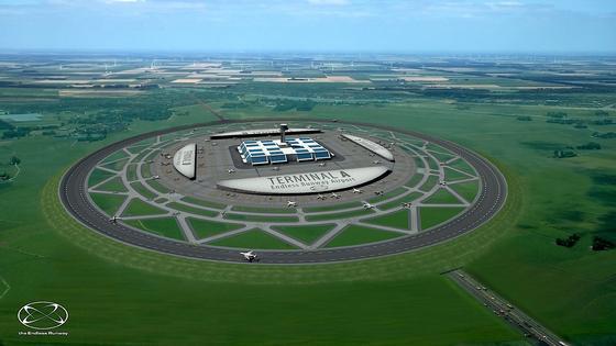 Simulation eines Flughafens mit runder Start- und Landebahn: Bis zu vier Flugzeuge können gleichzeitig starten und landen, so das Konzepten niederländischer Ingenieure desNetherlands Aerospace Centre NRL.