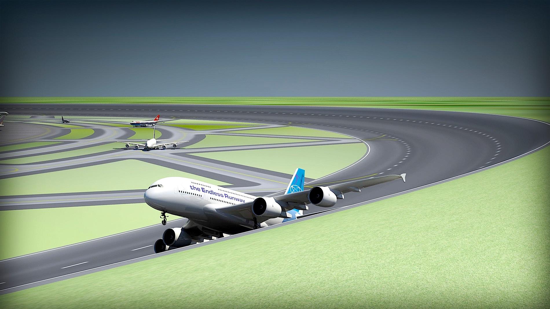 Start eines Flugzeuges von einer runden Startbahn: Die Flugzeuge können an jedem Ort der runden Startbahn abheben, besonders dort, wo die Windverhältnisse am besten sind.