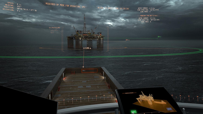 Blick durch die VR-Brille: Der Kapitän sieht die Umgebung des Schiffes. Ins Sichtfeld eingeblendet sind auch Windgeschwindigkeit und der Abstand zu Objekten.