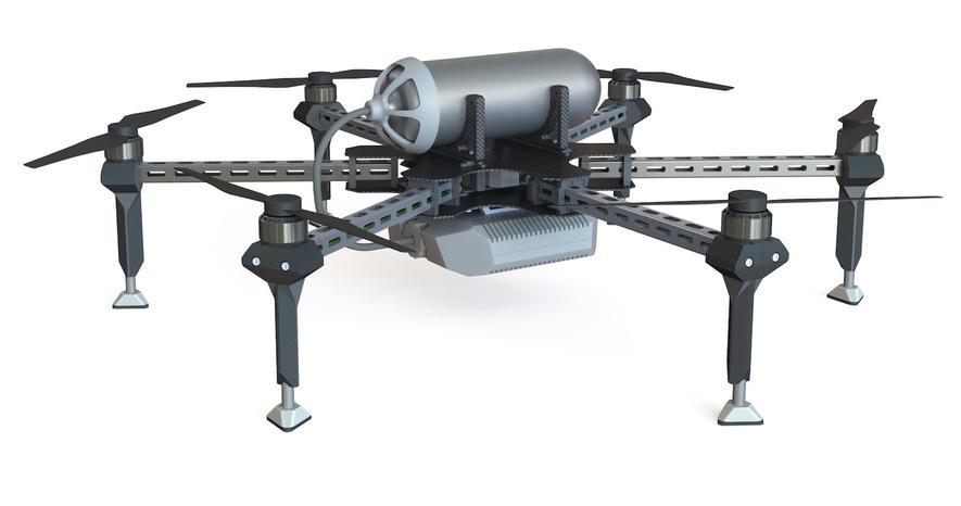 Diese Drohne wird mit Strom aus Brennstoffzellen angetrieben: Sie kann etwa zwei Stunden in der Luft bleiben.