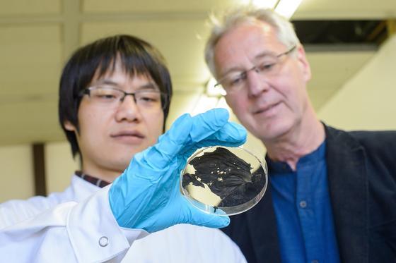 Auf den ersten Blick unscheinbar: Was wie ein verbranntes Stück Papier aussieht, ist ein hauchdünner Supraleiter, den das Team von Uwe Hartmann (r.) – hier mit Doktorand XianLin Zeng – entwickelt hat.