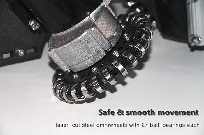 Viele Teile sind für das Üo maßgeschneidert. Die Allseitenräder sind aus lasergeschnittenem Stahl gefertigt und jedes von ihnen trägt 27 Kugellager, die laut Winkler für eine sichere, stabile und reibungslose Fahrt sorgen.