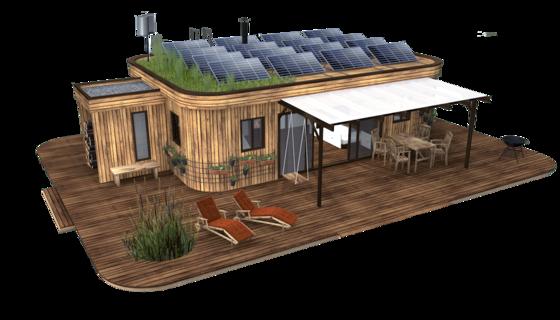 Das Wohnwagon Minihaus ist energieautark und modular aufgebaut. Die Holzkonstruktionen können von Zimmermeisterbetrieben wieder abgebaut und an einem anderen Ort wiederverwertet werden.