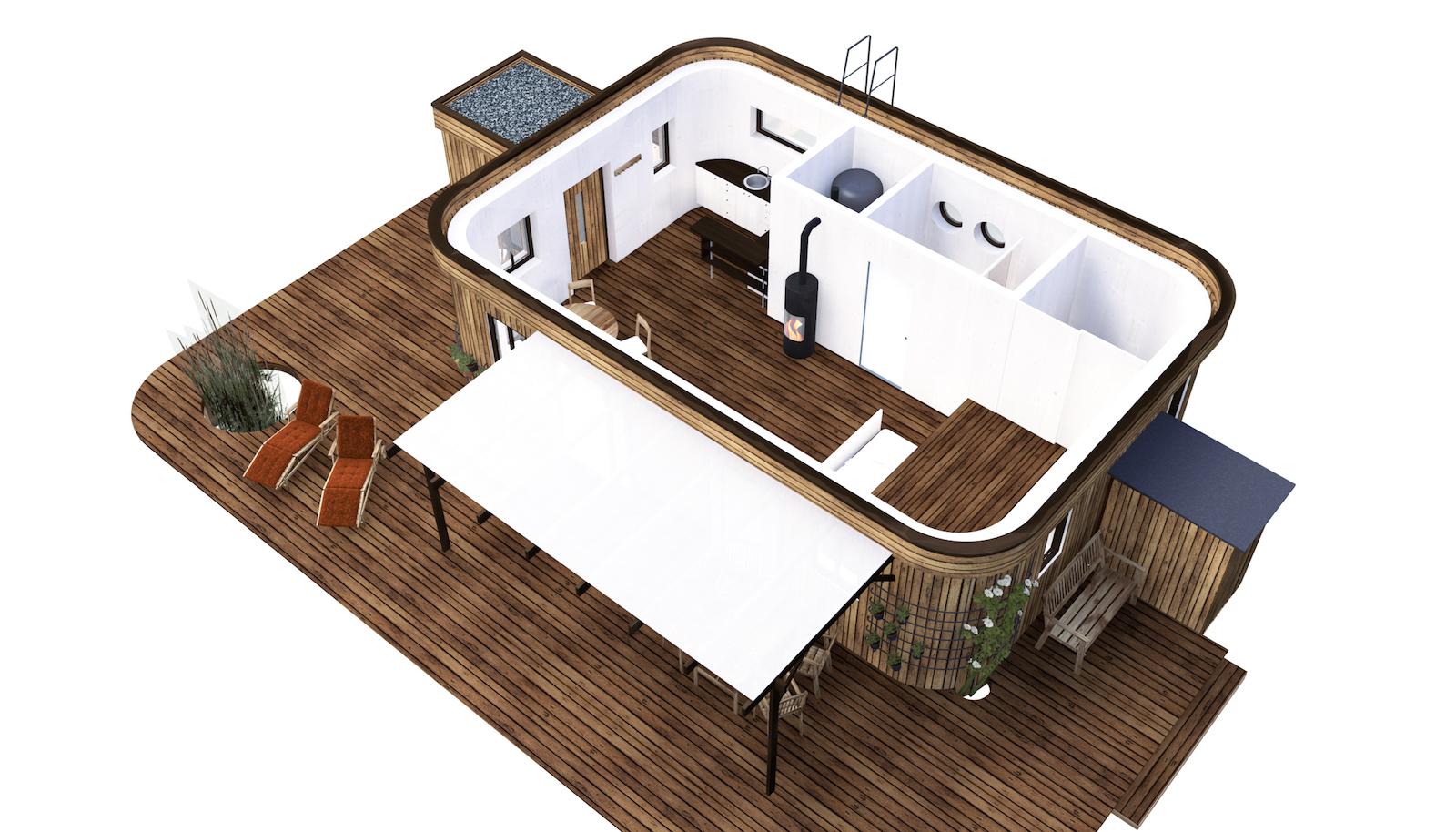 So sieht das Wohnwagon Minihaus von innen aus.