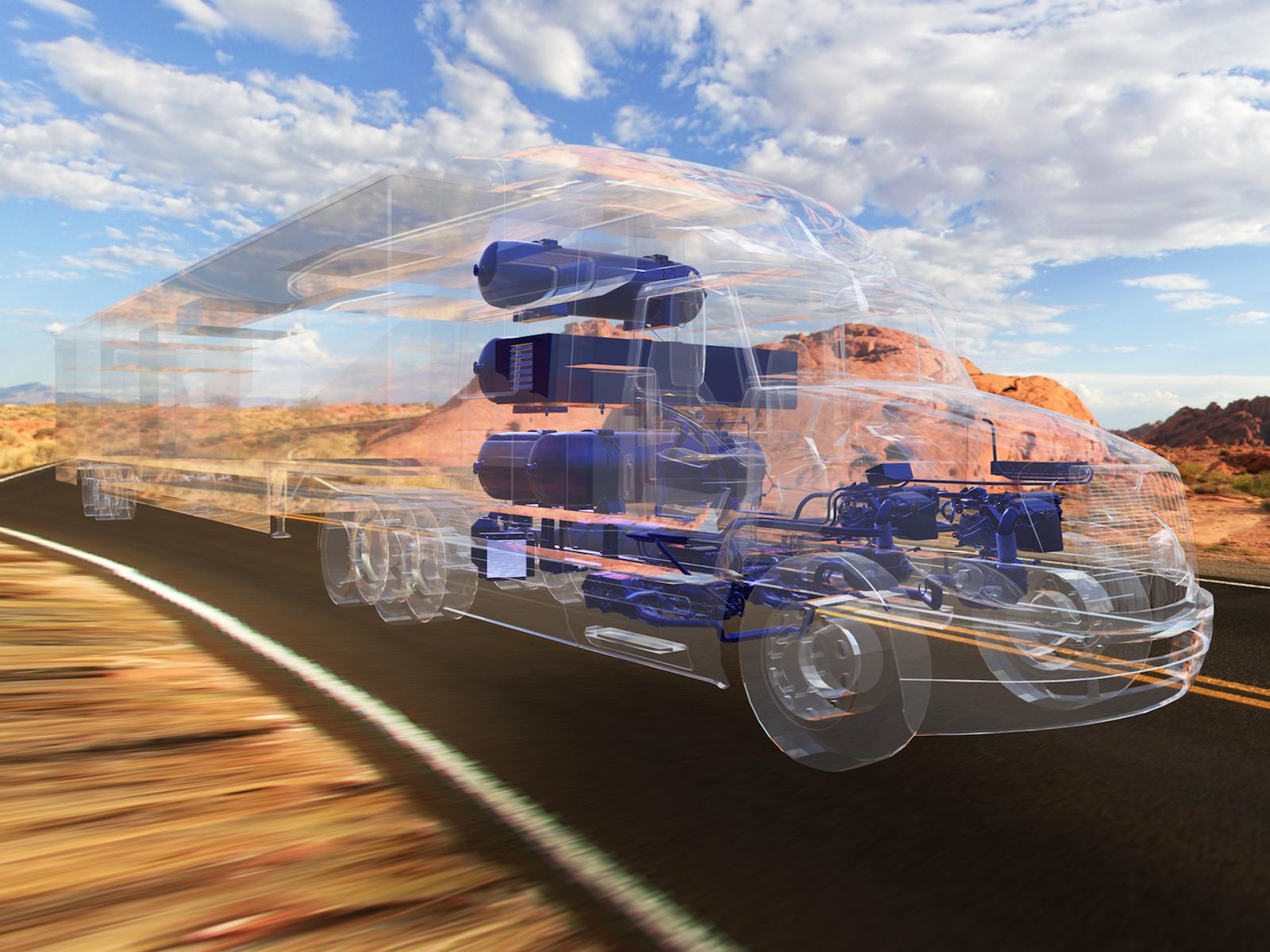In dem Truck kommen zwei Brennstoffzellenstacks aus Toyotas Wasserstoff-Limousine Mirai zum Einsatz. Sie sind an eine Lithium-Ionen-Batterie gekoppelt, die über 12 kWh Speicherkapazität verfügt.
