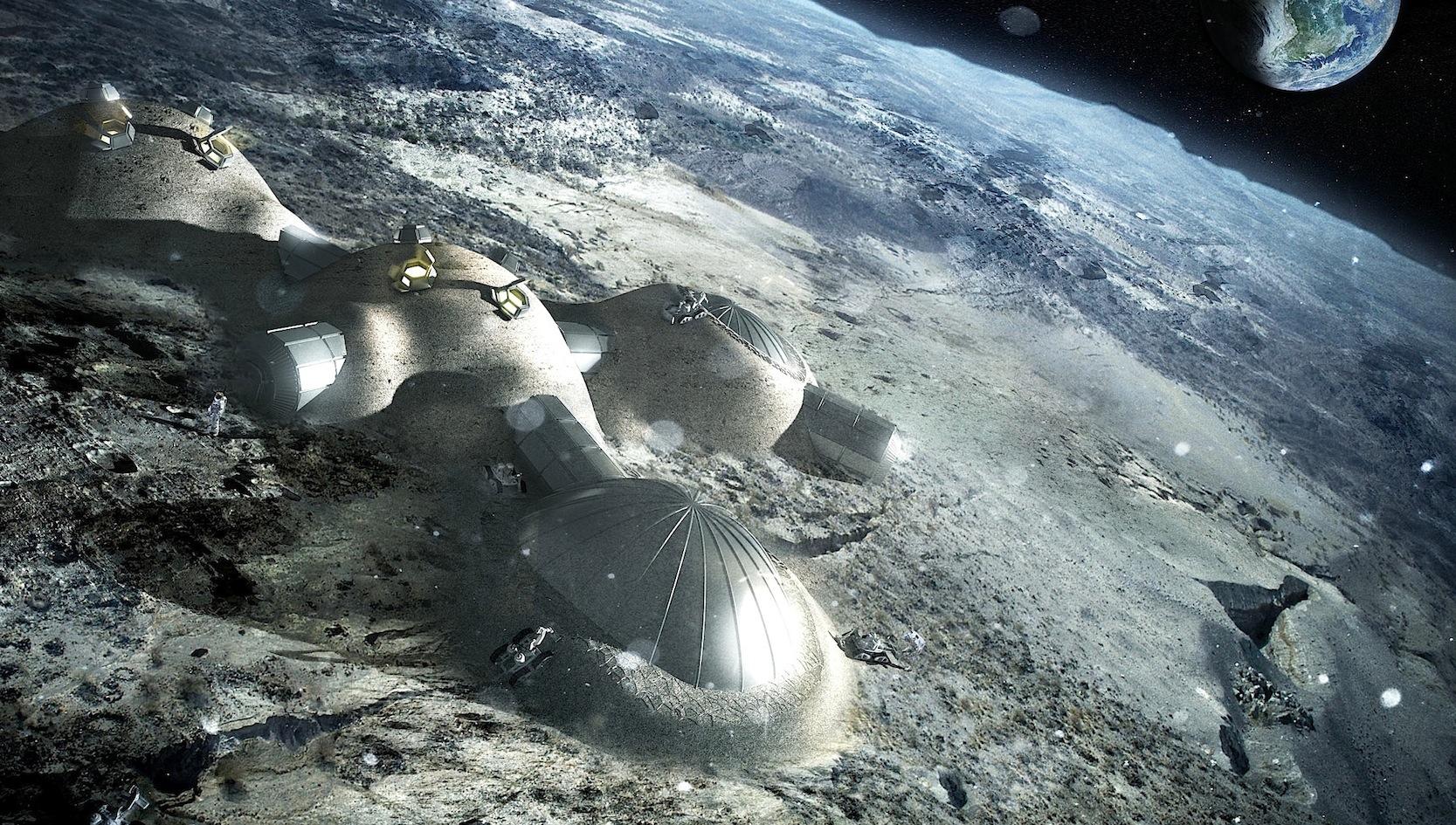 So könnte eine Raumstation auf dem Mond aussehen.