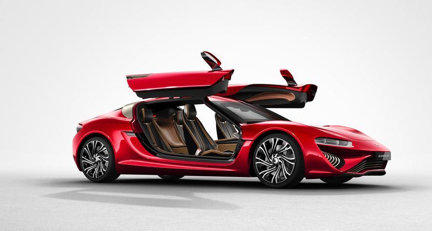 Quant FE vonNanoFlowCell: Das Elektroauto hat Flügeltüren und lässt sich dankRedox-Flow-Batterie innerhalb von Minuten wieder voll aufladen.