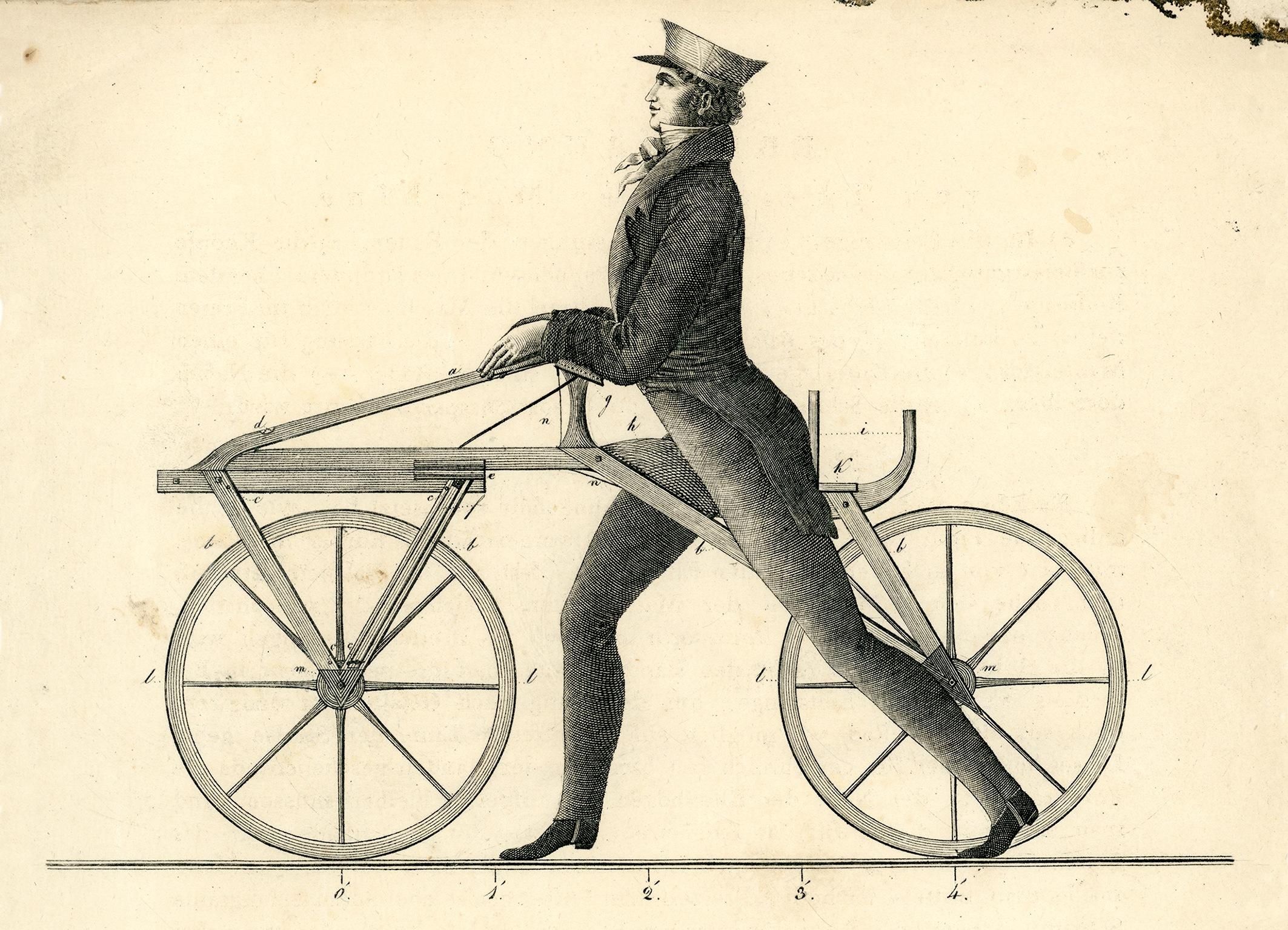 Die Laufmaschine des Freiherr von Drais aus dem Jahr 1817.