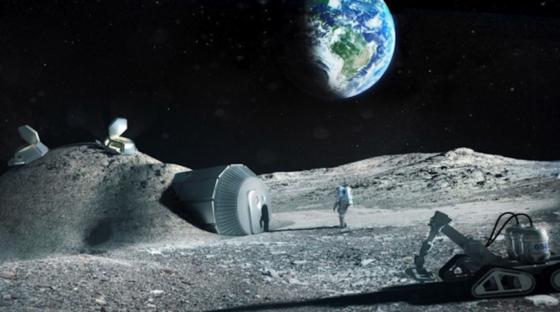 Die künstlerische Darstellung zeigt eine Mondbasis, die mit dem 3D-Drucker gebaut wurde. Jetzt haben Forscher aus Proteinen im Rinderblut eine Art Beton hergestellt, mit dem auf dem Mars gebaut werden könnte. Dafür muss das Protein mit marsähnlichem Staub vermischt und in Form gebracht werden.