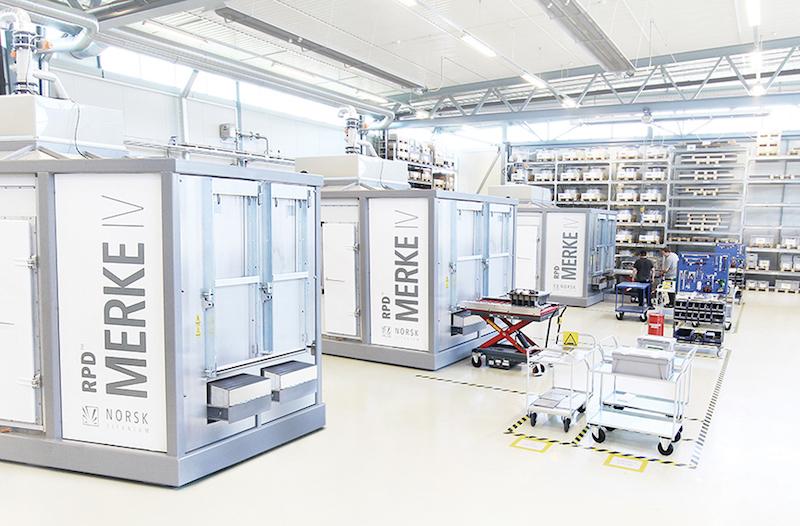 Produktionsstraße mit dem Merke IV 3D-Drucker.