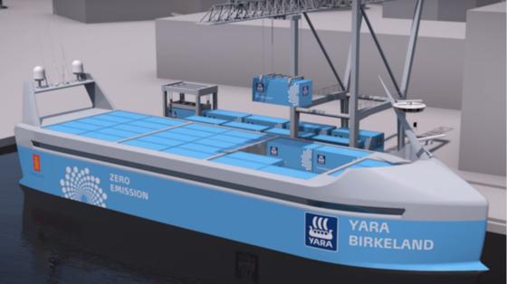 Illustration der Birkeland während des Beladens. Schon 2020 soll das elektrische Containerschiff autonom von Porsgrunn nach Brevik fahren.