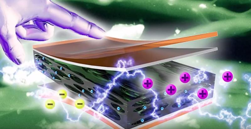Daselektronische Hightech-Material ist aus verschiedenen Schichten wie Silizium, Silber oder speziellen Kunststoffen aufgebaut. Dazwischen sind elektrisch geladene Ionen eingelagert.